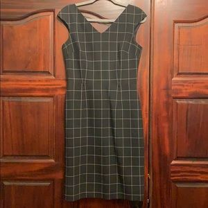 David Meister black and white check dress